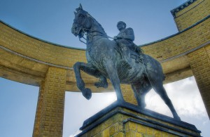 Equestrian statue of King Albert I, World War I leader of the Belgians. Horse riding is not a leadership requirement, but it does help. (Photo by me)