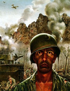 Moderating comments is neither as heroic nor as dangerous as fighting a war, but I have seen that two-thousand-yard-stare on the face of many a moderator. (Painting by Thomas Lea)